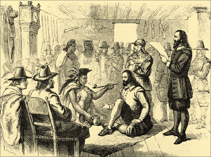 Massasoit smoking a peace pipe with Governor John Carver in Plymouth 1621.