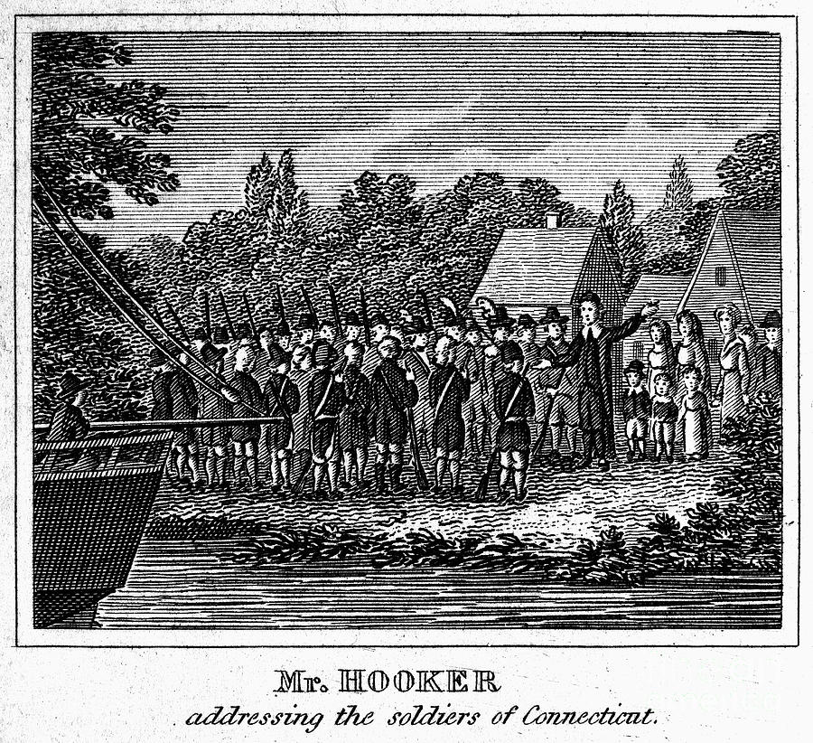 CONNECTICUT: PEQUOT WAR. Colonial and religious leader Thomas Hooker addressing the soldiers of Connecticut Colony during the Pequot War (1636-37). Line engraving, early 19th century
